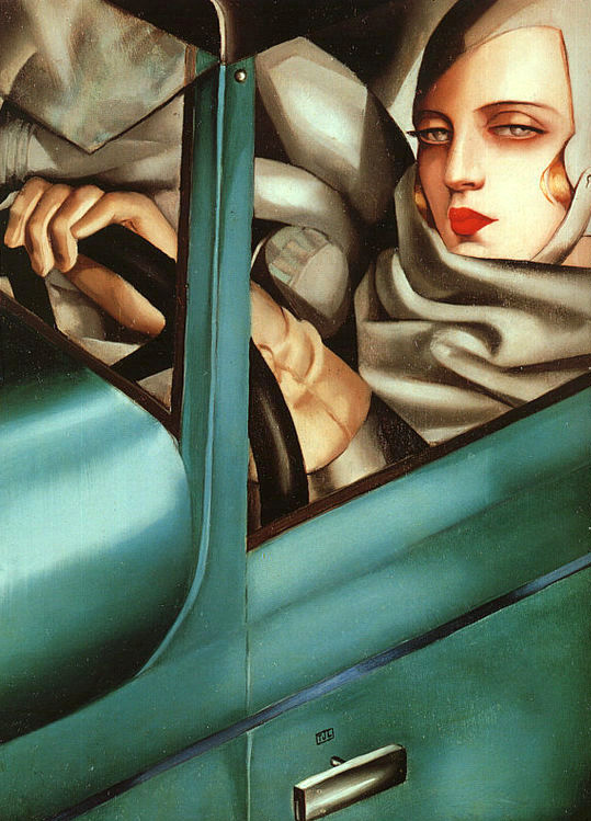 Self-Portrait in the Green Bugatti,  Tamara de Lempicka - 1929