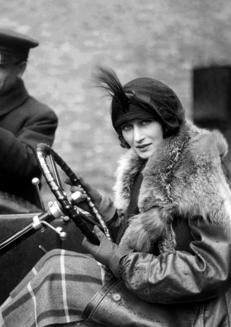 Margot Burke wearing a leather motoring coat, by E. O. Hoppé 1922